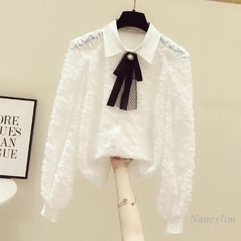 Long Sleeve White Chiffon Shirt Womens Clothing New Top All-Match Bow Lapel Blouses 2021 Spring Nancylim
