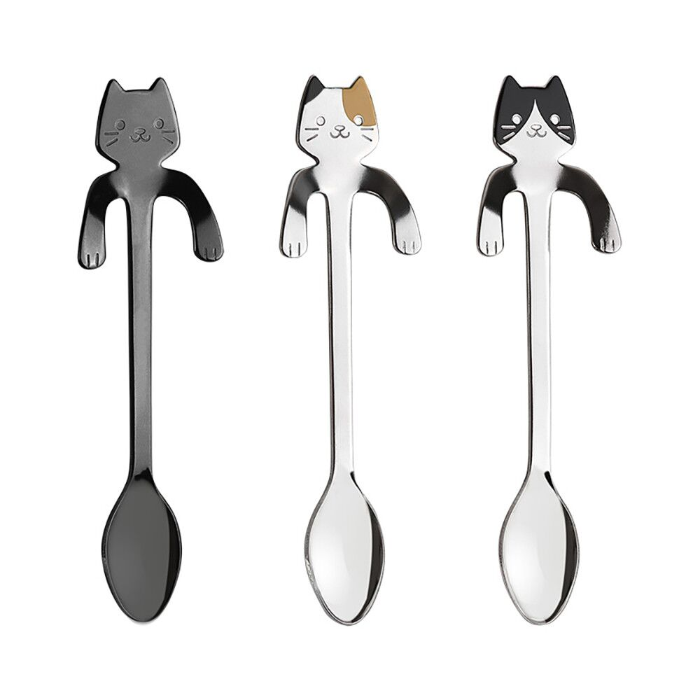 New Arrival Mini 304 Stainless Steel Cartoon Cat Spoon Long Handle Flatware Coffee Drinking Tools Kitchen Gadget