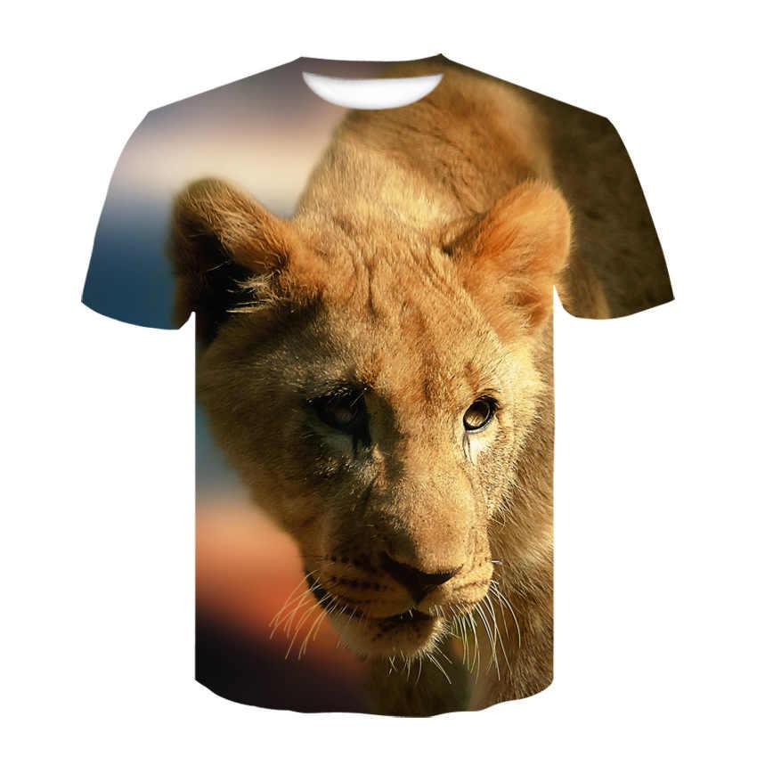 European American Trend Digitale Tiger Lion Gedruckt Kurzen Ärmeln Frauen T Shirts B 100% Baumwolle Männer Mädchen Tiger Druck femal Tees
