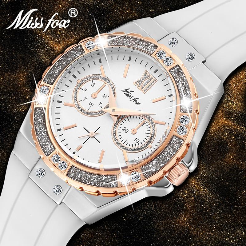 MISSFOX Watches Women Geneva Fashion Ladies Watch Luxury Diamond White Rubber Band Female Quartz Wristwatch Xfcs 2020 The New