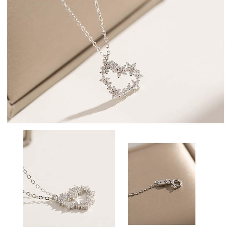 Crystal Heart Pendant Necklace Chain Bridal Jewellery Birthday Christmas Gift