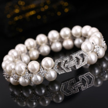 Natural pearl bracelet AAA Zircon Double Bracelet 925 Sterling Silver Bracelets Luxury Wedding Bride Gift Jewelry цена 2017