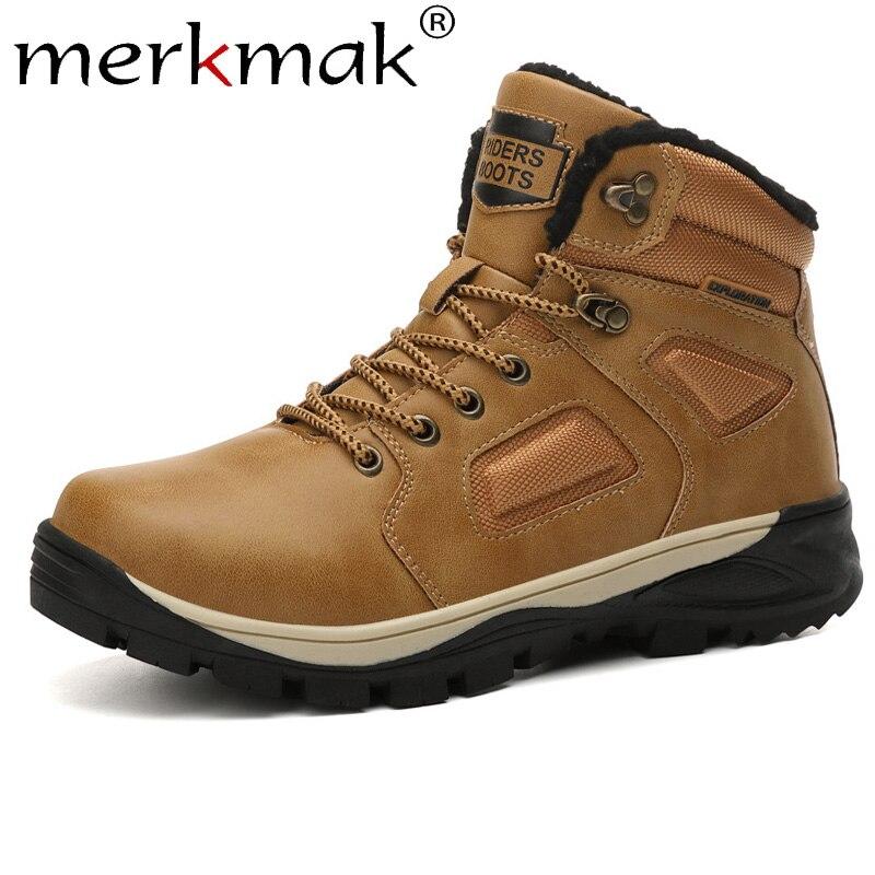 Merkmak New Winter Man Boots Casual Keep Warm Snow Boot Non-slip Outdoor Hiking Shoe Mens High Plus Velvet Shoe Men Sneakers