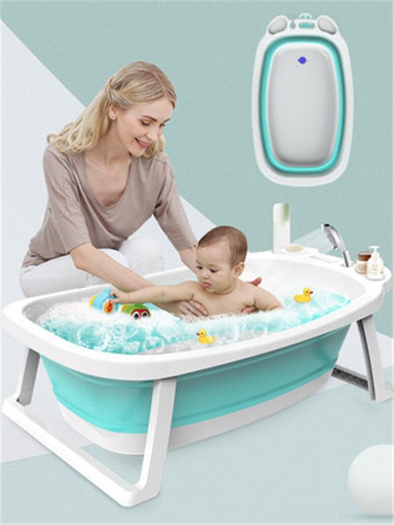 Baignoire bébé maison bébé baignoire pliante épaississement grand cylindre de bain pour enfants fournitures de baignoire nouveau-né