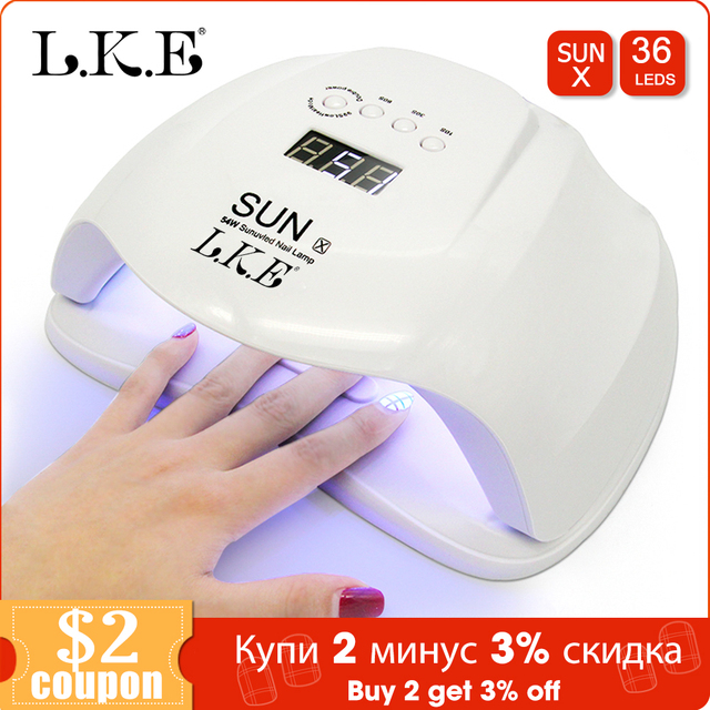 LKE SUNX 48/54W UV Lamp LED Nail Lamp Nail Dryer For All Gels Polish With Infrared Sensing 10s/30s/60s Timer Smart touch button