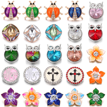 6pcs/lot New Snap Button Jewelry 18mm Buttons Crystal Rhinestone Ladybug Owl Flower Snaps Fit Leather Silver Bracelet