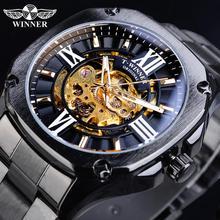 Winner Mens Mechanical Watch Retro Golden Skeleton Square Automatic Stainless Steel Belt Gentleman Wrist Watches Clock