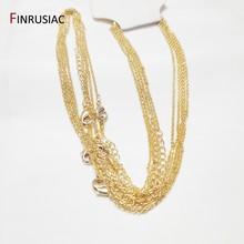 Corrente chapeada ouro do metal 18k para a fatura da colar, comprimento 50cm da espessura de 1.6mm, corrente do fecho da lagosta para a jóia que faz por atacado