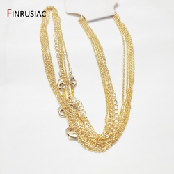 18K gold Plated metal chain for necklace making, 1.6mm thickness 50cm length, Lobster clasp chain for Jewelry Making wholesale