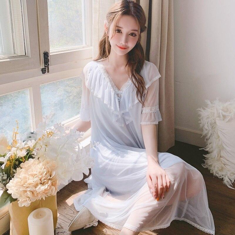 Sweet Summer Modal Women's Long Sleepwear Short Sleeve V-Neck Gauze Vintage Princess Comfortable Nightwear Long Dress