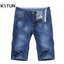 Male Jeans Shorts Denim Pants Slim-Fit Light-Blue Stretch Fashoin KSTUN Summer High-Quality