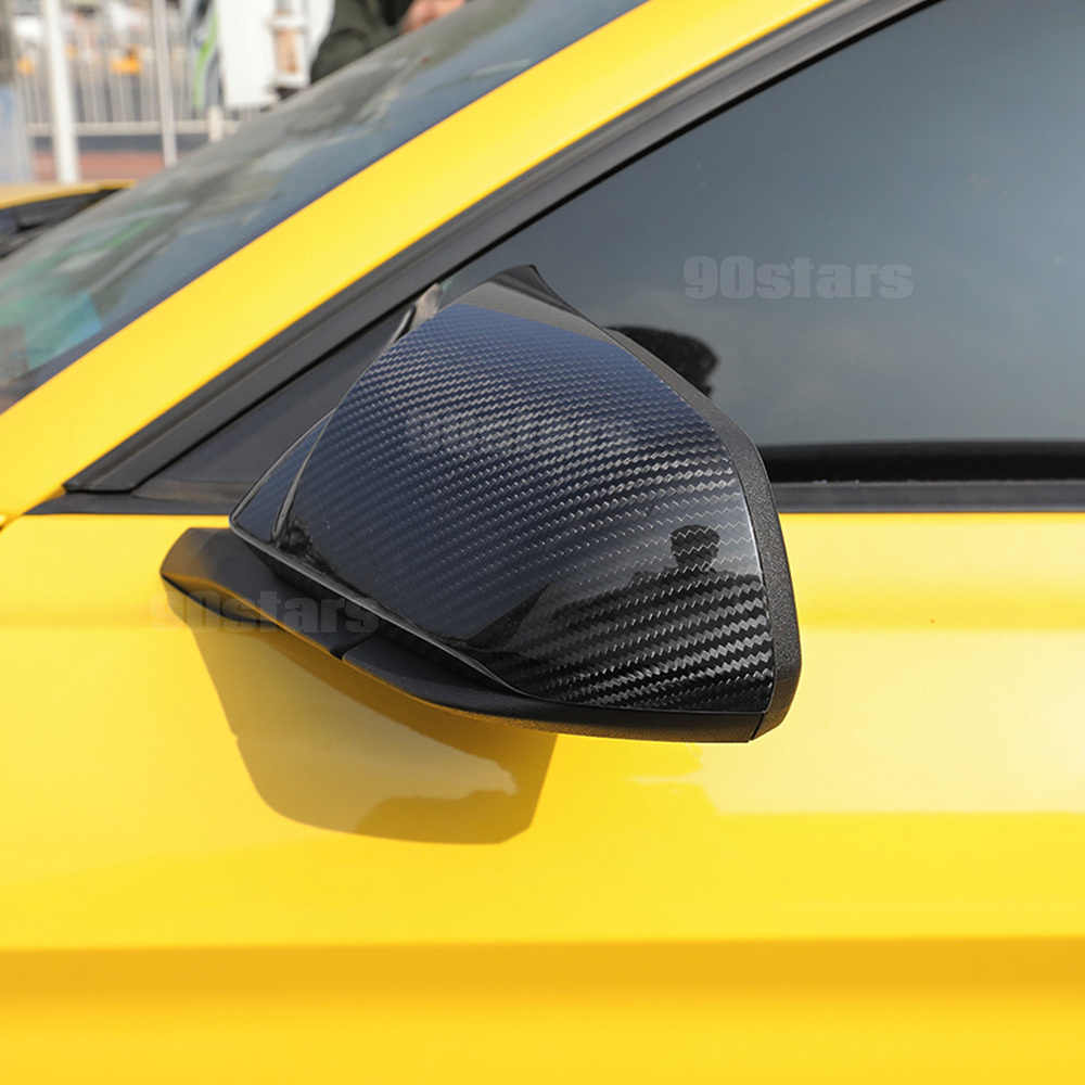4pcs Steering Wheel, Red HXD Carbon Fiber Frame Trim Cover Case Cap for Ford Mustang 2015-2020 Shelby GT500