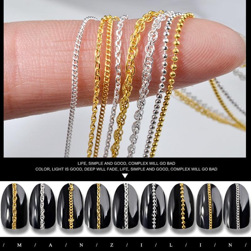 3D украшение для ногтей из сплава, сверхтонкие металлические части цепочки для ногтей, золотые инструменты для украшения ногтей