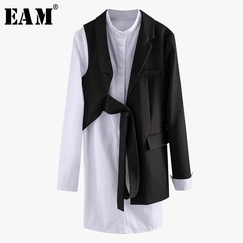 [EAM]  Women Black Asymmetrical Two Piece Blazer New Lapel Long Sleeve Loose Fit  Jacket Fashion Tide Spring Autumn 2020 1N904