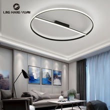 Indoor Lighting Modern Led Chandelier Black Metal Ceiling Chandelier Lighting for Living room Bedroom Dining room Lamps Round(China)