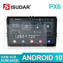 Rádio automotivo isudar, rádio automotivo com android 10 para vw/golf/polo/passat/skoda/fabia octavia/seat/leon multimídia carro, vídeo player gps usb dvr(China)