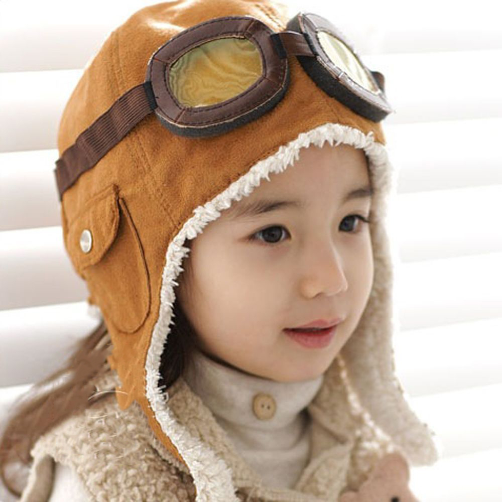 Children'S Hats Autumn Winter Plus Velvet Cartoon Fashion Aviator Hat Warm Cute Funny Boy Girl Head Protector Hat For Kids Hot