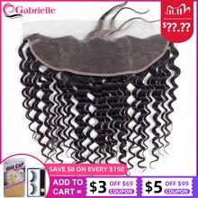 Gabrielle 13X4 Ren Phía Trước Đóng Cửa Brasil Sâu Sóng Màu Tự Nhiên Remy Tóc Của Con Người Trước Tiền Nhổ Với tóc Cho Bé