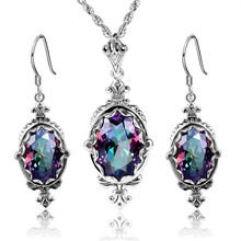 DUBAI JEWELRY SETS REAL 925 STERLING SILVER PENDANTS DROP EARRINGS VINTAGE RAINBOW TOPAZ PENDANT 925 FINE JEWELRY FOR WOMEN(China)