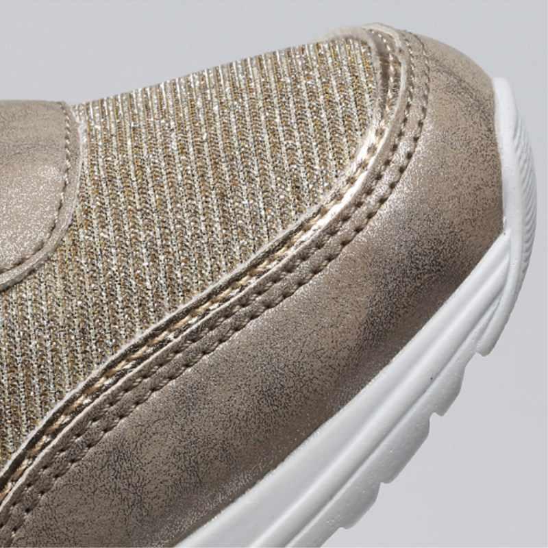 Frauen Höhe Zunehmende Walking Jogging Turnschuhe 6,5 CM Erhöhen Gold Silber Damen Sport Laufschuhe Komfortable Mädchen Schuhe