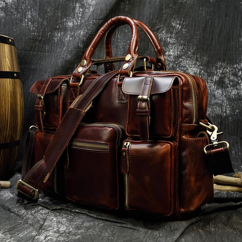 "H0b098abaf50743fa937494e781072fe0C MAHEU Men Briefcase Genuine Leather Laptop Bag 15.6"" PC Doctor Lawyer Computer Bag Cowhide Male Briefcase Cow Leather Men Bag"