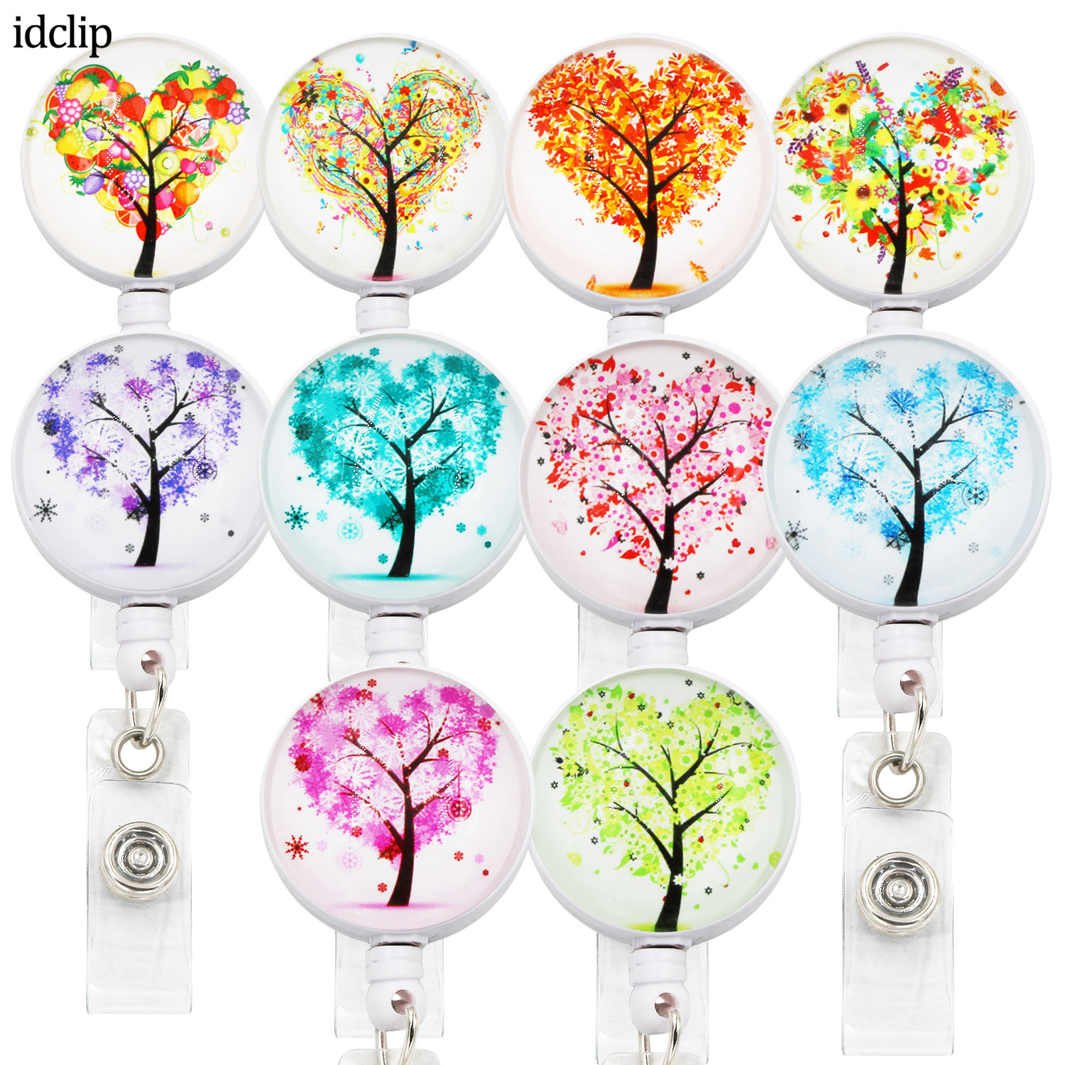 Idclip Colors Tree ID Retractable Badge Holder With 360 Alligator Clip Life  Retractable Cord ID Badge