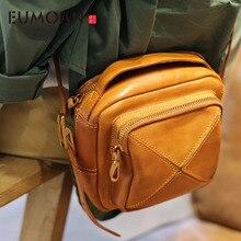 EUMOAN Original autumn on the new small bag handmade cowhide handbag retro stitching square literary shoulder Messenge