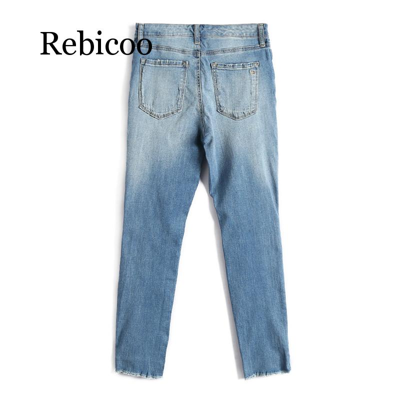 Women 39 s fashion wash scratches denim jeans women 39 s casual jeans high street elegant jeans 2019 autumn new products in Jeans from Women 39 s Clothing
