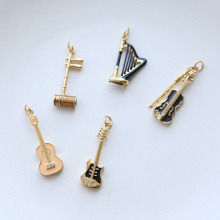 925 silver gold enamel stradivarius necklace women musical instrument pendant Huqin guitar piano violin Bass drum harp lute mini qute piece fun 3d musical instrument guitar harp erhu drum set piano bass fiddlei metal puzzle adult models educational toy