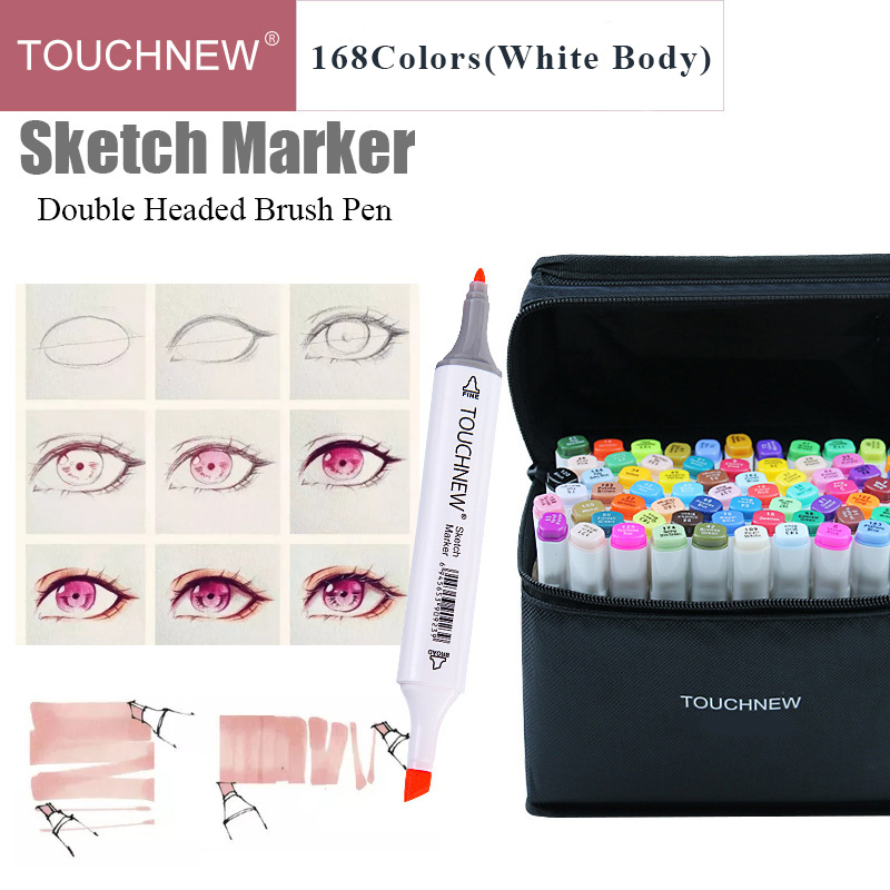 168 Colors TouchNew Double Head Art Markers Single Alcohol Based Sketching Markers Manga Drawing Brush Pen School Paint Supplies