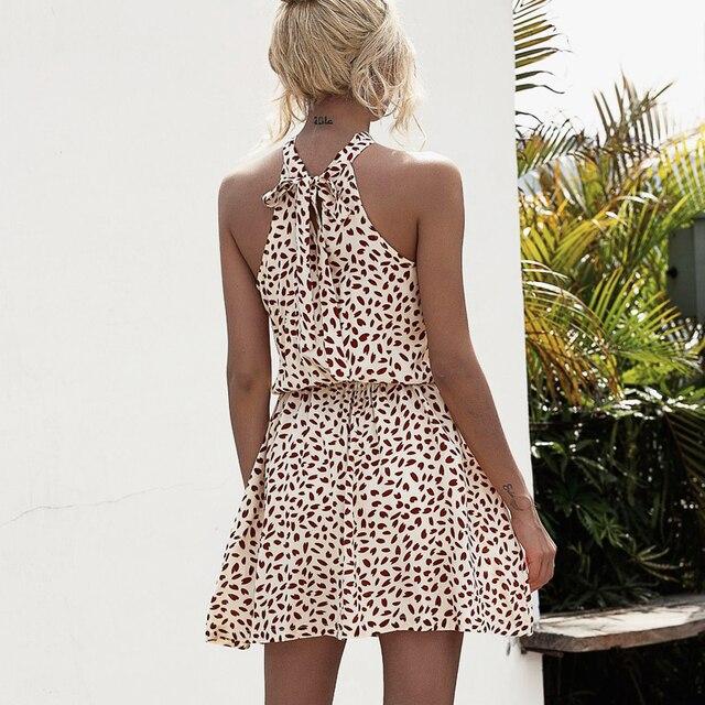 High Street Summer Sexy Halter Floral Print mini Dress 2020 vintage sleeveless dress beach Casual party short Dress for Women 5
