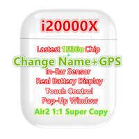I20000X TWS Aire2 1:1 Super copia cambio de nombre GPS Bluetooth auricular para iPhone 1536u Chip Air2 auriculares inalámbricos Deep Bass Hi-Fi