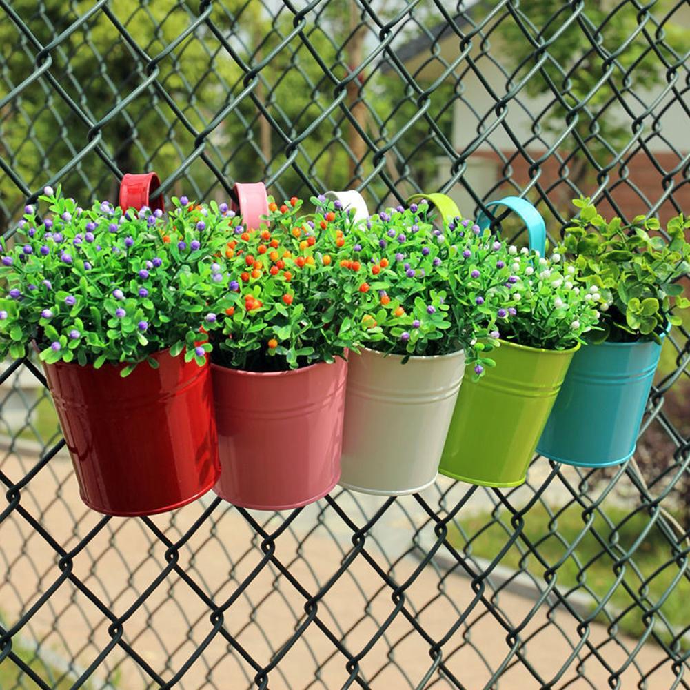 Iron Flower Pot Hanging Balcony Garden Plant Planter Home Decor Basket Holder