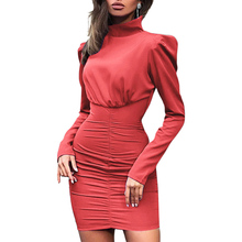 Women Sexy Solid Color Bodycon Dress Casual Pleated Short Dress Vestido Autumn Winter Fashion High Collar Long Sleeve Dress fashionable round collar sleeveless pleated solid color dress for women