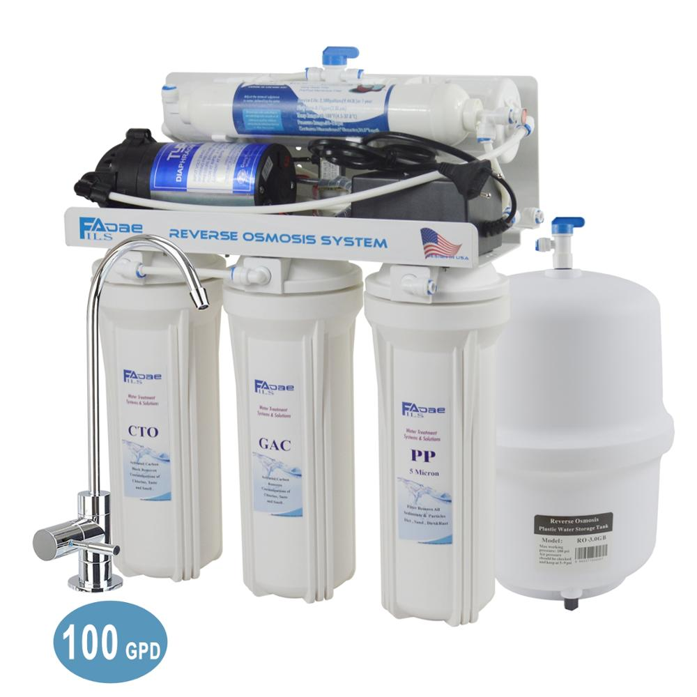 Top Tier Five Stage Under Sink Reverse Osmosis Drinking Water Filter System 100GPD RO Household Water Filter  EU two pin plug|100 gpd|water filtration system|reverse osmosis - title=
