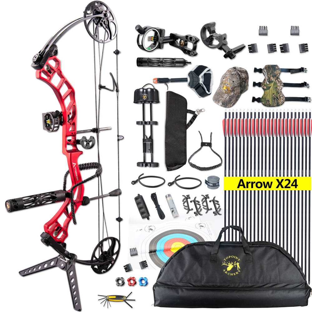 Topint 19-70 Lbs Compound Bow Right Hand Adjustable Bow Set For Shooting Fishing Target Outdoor Practice Archery Hunting