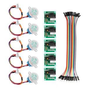 Image 1 - 5 pces 5 v motor deslizante com uln2003 placa de motorista dupont cabo para arduino redução passo motor passo engrenagem motor deslizante 4 fase