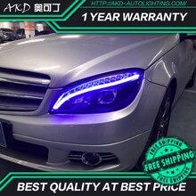 Reflektor AKD do stylizacji samochodu do reflektorów Benz W204 2007-2010 C300 C260 C200 LED reflektor LED DRL Hid Bi Xenon akcesoria samochodowe