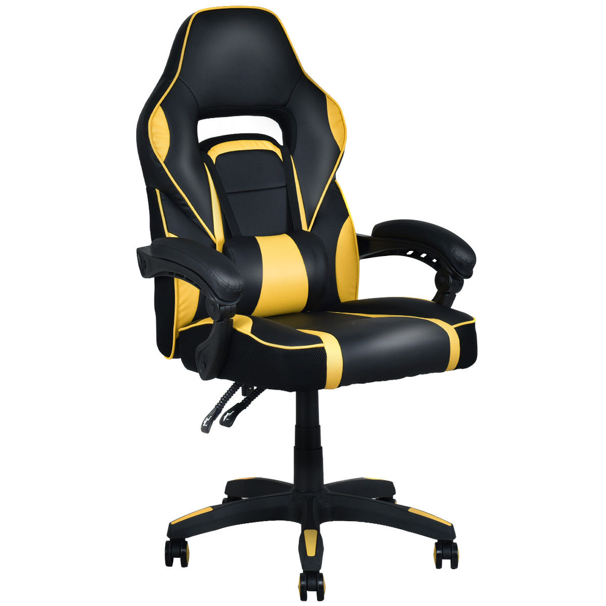 Costway Executive Racing Style PU Leather Gaming Chair High Back Recliner Office Yellow