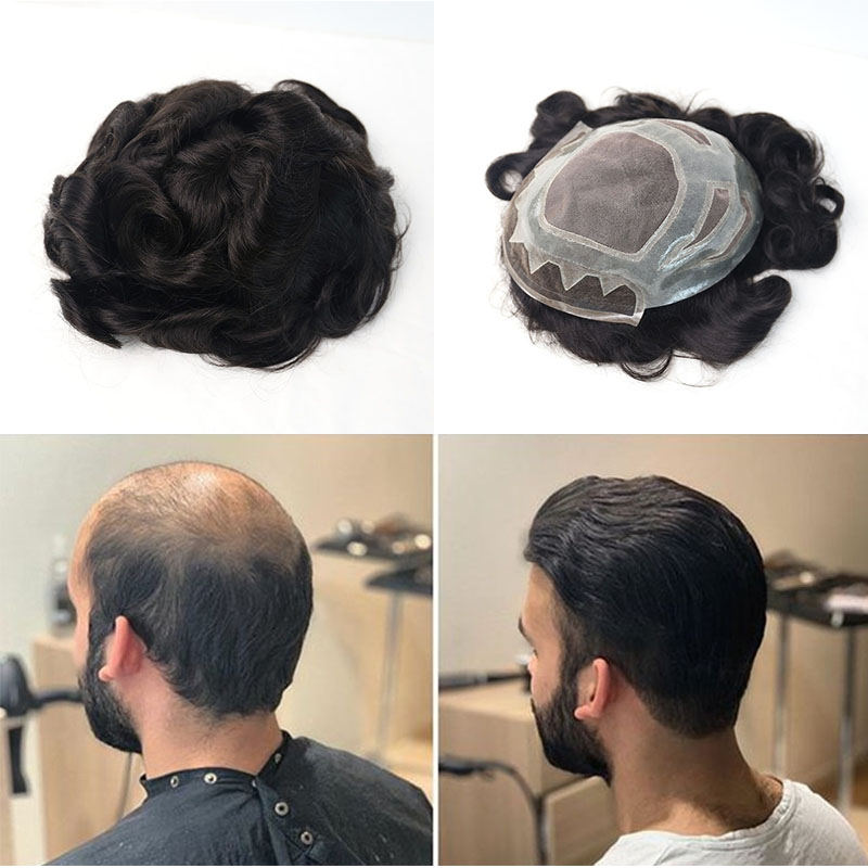 Fine Mono PU Mens Hairpiece Natural Black Mens Toupee Human Hair Replacement 8x10 Inches Toupee Rosa Queen