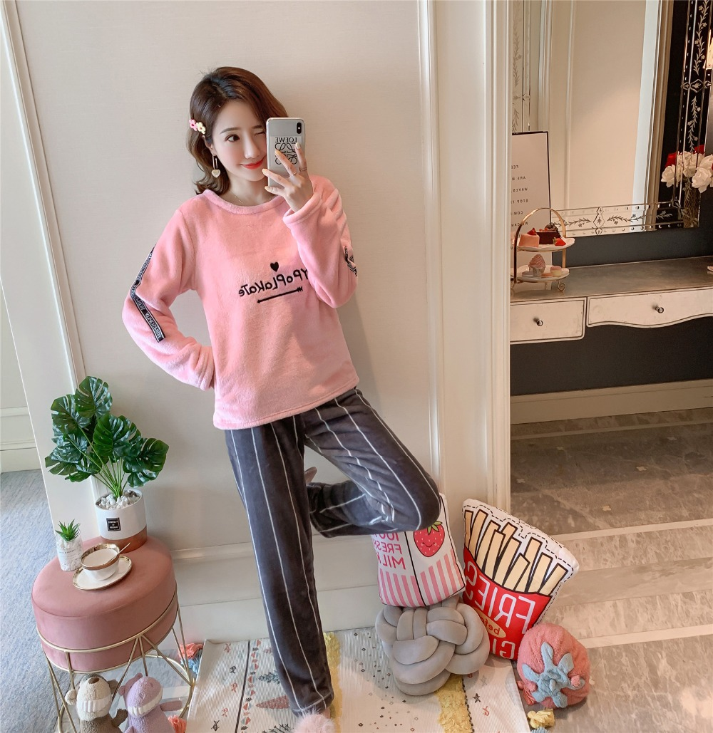 Betyline 2019 New Winter Pajamas For Women Sleepwear Warm Flannel Long Sleeves Pajamas Cute Animal Homewear Thick Homewear 150