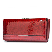 Genuine Leather Women Wallets Female Alligator Wallet Luxury Brand Coin Purse Design Clutch Bag Card Holder Zipper Ladies Purses