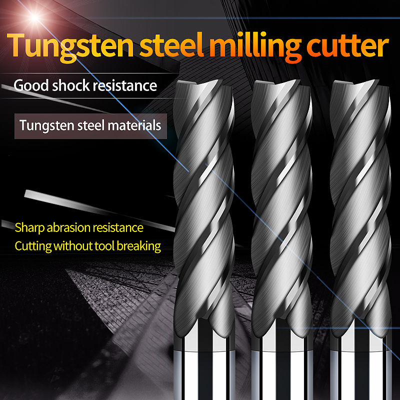 Endmill Cutting HRC50 4 Flute Mill Metal Cutter Alloy Carbide Tungsten Steel Milling Cutter End Mill 8mm 10mm 12mm Milling Tools
