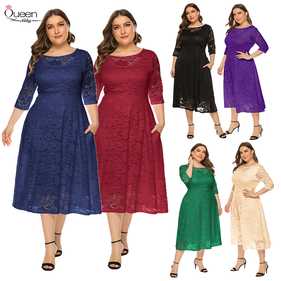 Plus Size Half Sleeves Lace Evening Dress A-line Tea-length Dress with Pockets for Party vestidos de fiesta de noche