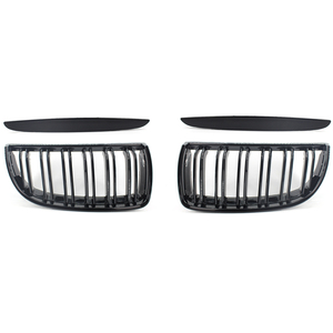 Glossy Black Front Hood Kidney Grille Grill ABS Dual Line Compatible for BMW E90 E91 318 320i 325i 330i 2006-2008