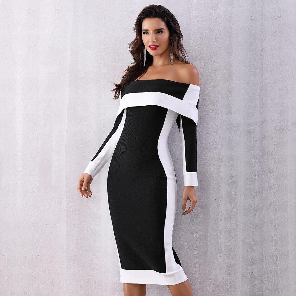 Image 5 - Seamyla New Long Sleeve Bodycon Bandage Dresses Women Vestidos  2019 Runway Party Dress Midi Celebrity Sexy Clubwear Dress SlimDresses