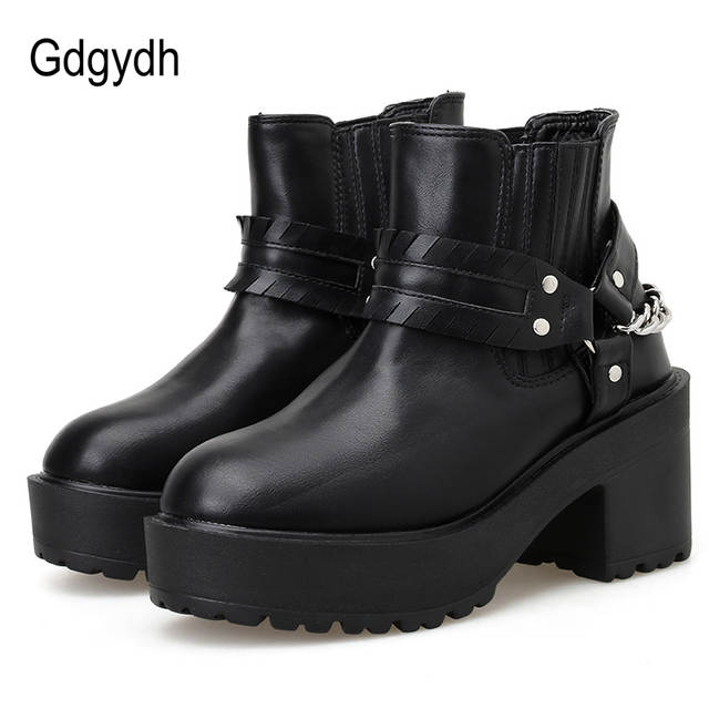Gdgydh Black Leather Gothic Shoes Women