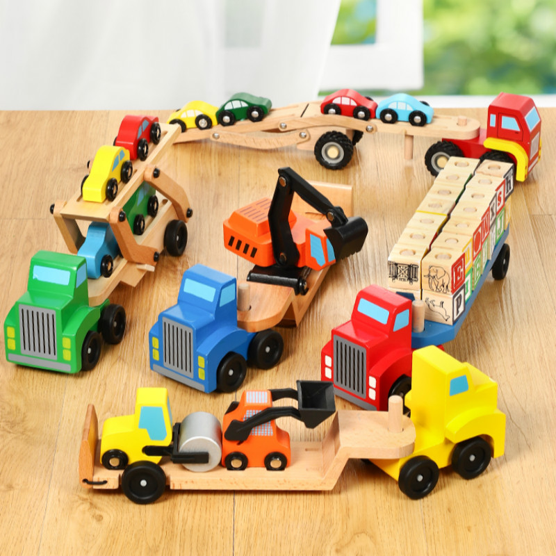 Baby Wooden Truck Toy Children Early Educational Designer Vehicles Toys Double Decker Car Carrier And 4 Cars Classic Model Toys