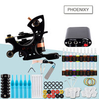 Complete Beginner Tattoo Kit 1 Tattoo Machine Gun Set Immortal Inks Mini Power Supply Needles Tattoo Grips Tattoo Machine Kit