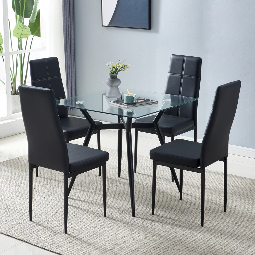 80*80*75cm Glass Dining Table Set 44*53*96cm 4pcs Dining Chair for Most living room Balcony or Dining room 1